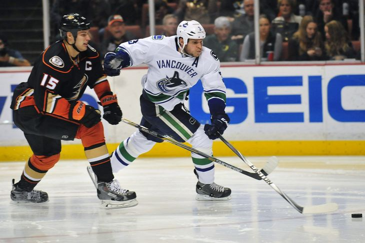 Bieksa competes against Getzlaf