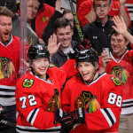 Patrick Kane records 100th point with hat-trick goal